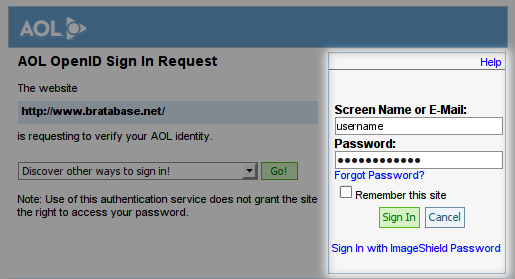Log in with an AOL account, step 2