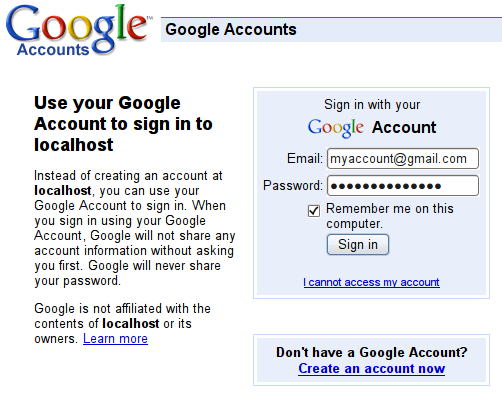 Log in with a Google account, step 2