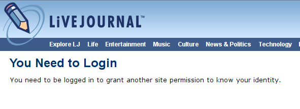 Log in with a Livejournal account, step 2