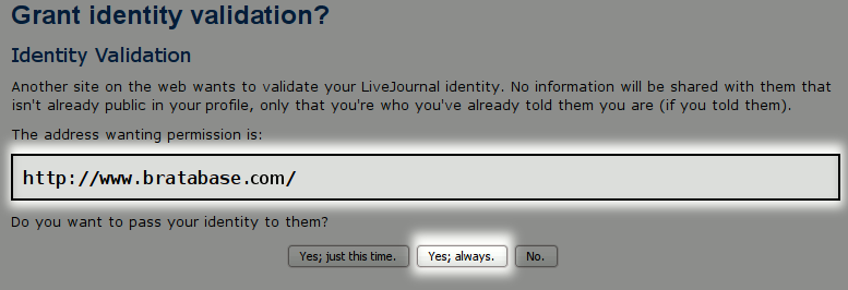 Log in with a Livejournal account, step 4