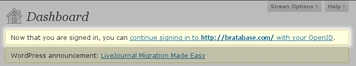 Log in with a Wordpress account, step 4