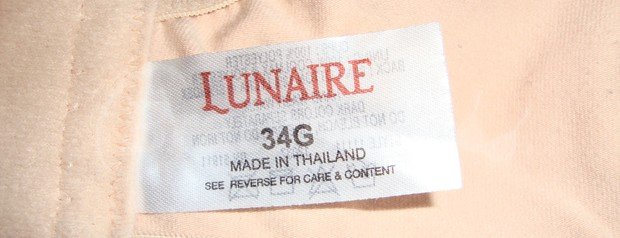 34G Lunaire sports bra label